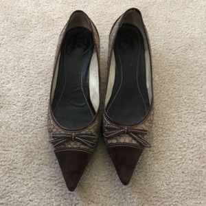 Coach monogram kitten heels with suede tip